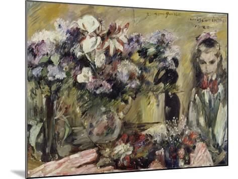 Flowers and the Artist's Daughter Wilhelmine, 1920-Lovis Corinth-Mounted Giclee Print