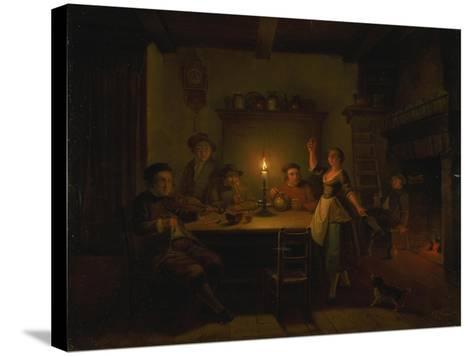 Inn Interior by Candle Light-Pieter Huys-Stretched Canvas Print