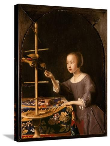 Girl Feeding a Parrot-Pieter Van Steenwyck-Stretched Canvas Print