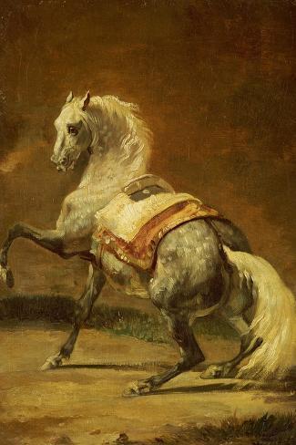 Dappled Grey Horse-Th?odore G?ricault-Stretched Canvas Print
