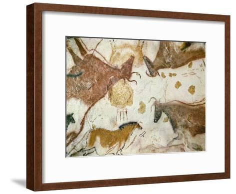 Cave of Lascaux, Ceiling of the Diverticulum: a Horse and Three Cows, C. 17,000 BC--Framed Art Print