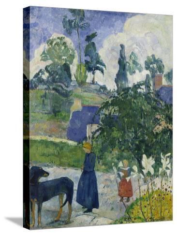 Entre Les Lys, Breton Landscape with Dog and Children, 1889-Paul Gauguin-Stretched Canvas Print