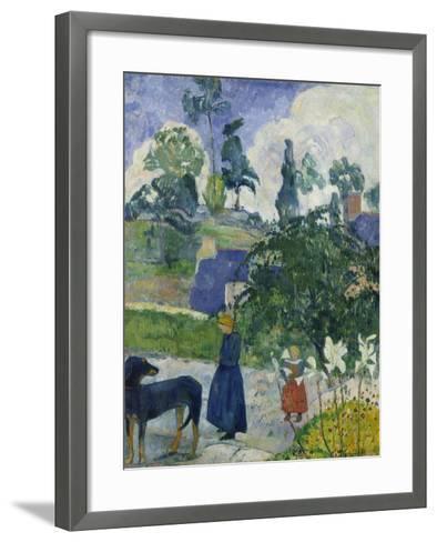 Entre Les Lys, Breton Landscape with Dog and Children, 1889-Paul Gauguin-Framed Art Print