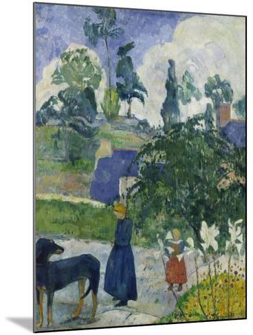 Entre Les Lys, Breton Landscape with Dog and Children, 1889-Paul Gauguin-Mounted Giclee Print