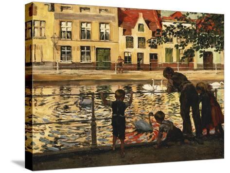Feeding the Swans-Paul Meyerheim-Stretched Canvas Print