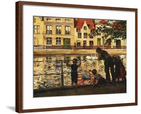 Feeding the Swans-Paul Meyerheim-Framed Art Print