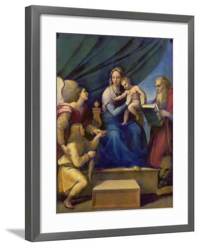 The Madonna of the Fish (The Madonna with the Archangel Raphael, Tobias and St, Jerome), C. 1513-Raffael-Framed Art Print