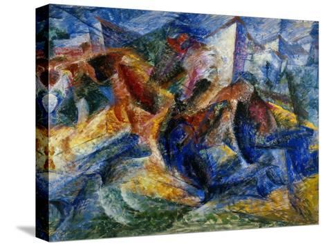 Horse and Rider and Buildings, 1914-Umberto Boccioni-Stretched Canvas Print
