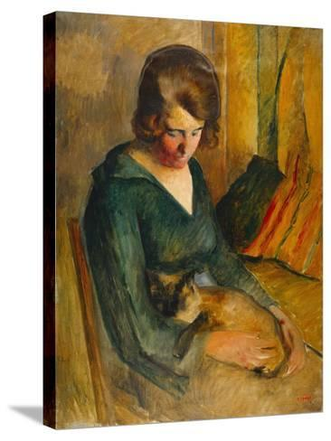 Seated Woman with a Cat on Her Knees (Femme Assise Avec Chat Sur Ses Genoux)-Roderick O'Connor-Stretched Canvas Print