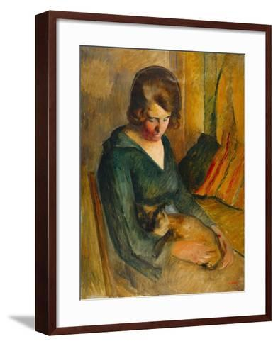 Seated Woman with a Cat on Her Knees (Femme Assise Avec Chat Sur Ses Genoux)-Roderick O'Connor-Framed Art Print