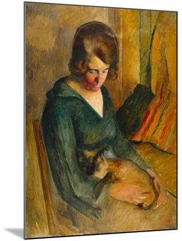 Seated Woman with a Cat on Her Knees (Femme Assise Avec Chat Sur Ses Genoux)-Roderick O'Connor-Mounted Giclee Print