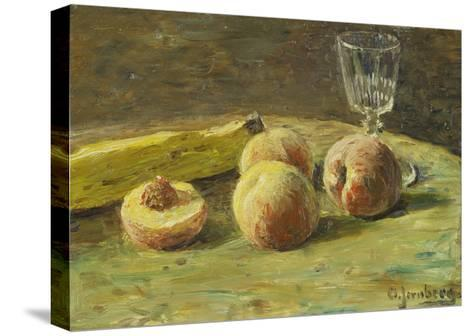Still Life with Peaches and Wine Glass, Ca, 1890-Orneore Metelli-Stretched Canvas Print
