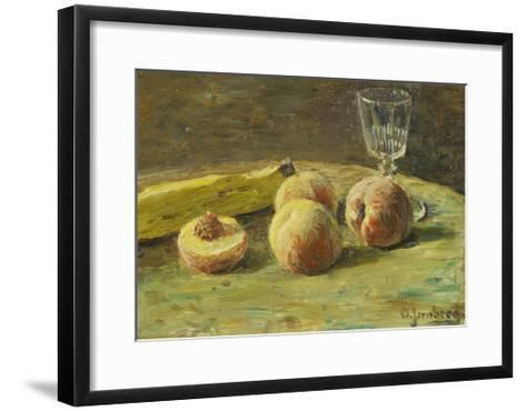Still Life with Peaches and Wine Glass, Ca, 1890-Orneore Metelli-Framed Art Print