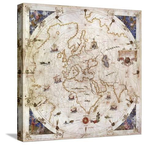 Portolan Chart of the World, Venice, 1519--Stretched Canvas Print