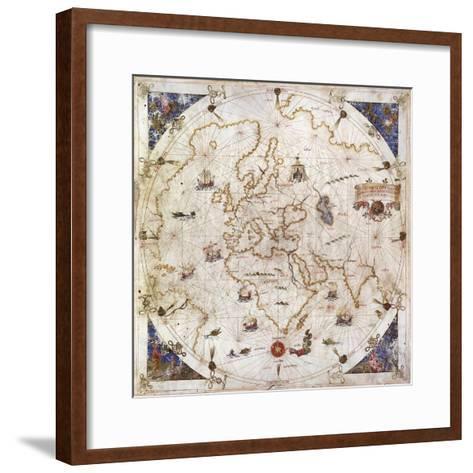 Portolan Chart of the World, Venice, 1519--Framed Art Print