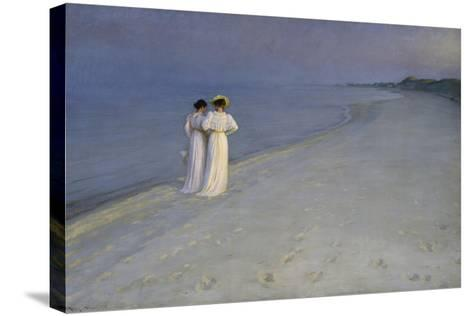 Summer Evening at Skagen (Anna Ancher and Marie Kroyer on the Beach at Skagen), 1893-Peter Severin Kroyer-Stretched Canvas Print
