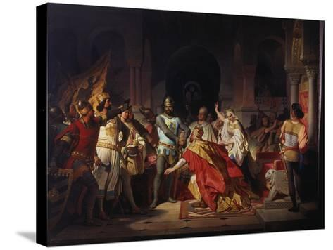 Humiliation of Emperor Frederick Barbarossa by Henry the Lion 1176-Philipp Foltz-Stretched Canvas Print