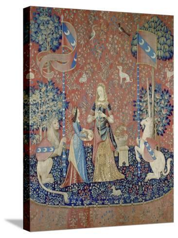 The Lady and the Unicorn: Smell, Between 1484 and 1500--Stretched Canvas Print