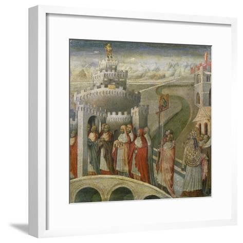 The Procession of St. Gregory at the Mausoleum of Hadrian (Castel Sant'Angelo) in Rome-Paolo Veronese-Framed Art Print