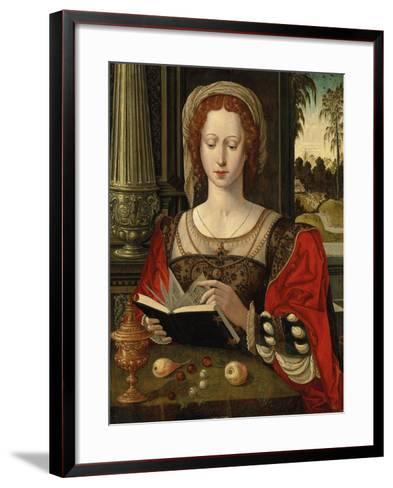 Saint Mary Magdalene Reading, at a Table with Fruit and a Golden Tazza--Framed Art Print
