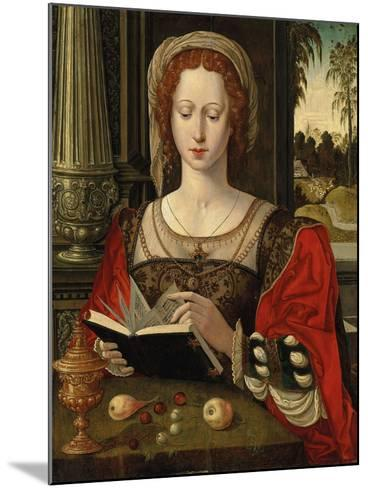 Saint Mary Magdalene Reading, at a Table with Fruit and a Golden Tazza--Mounted Giclee Print