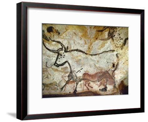 Cave of Lascaux, Great Hall, Left Wall: Second Bull, Below: Kneeling Red Cow, C. 17,000 BC--Framed Art Print