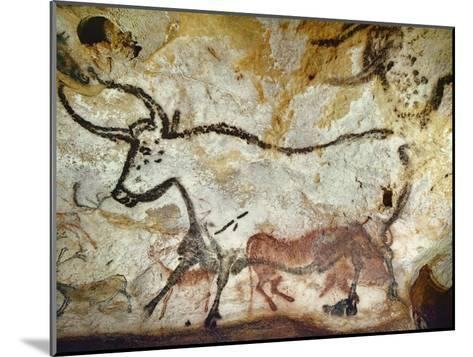Cave of Lascaux, Great Hall, Left Wall: Second Bull, Below: Kneeling Red Cow, C. 17,000 BC--Mounted Giclee Print