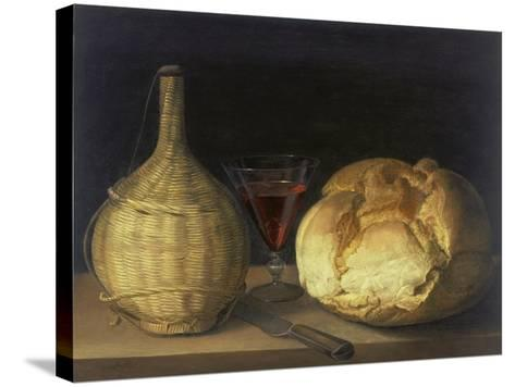 Still Life with Demijohn, Goblet and Bread, 1630-35-Sebastiano del Piombo-Stretched Canvas Print