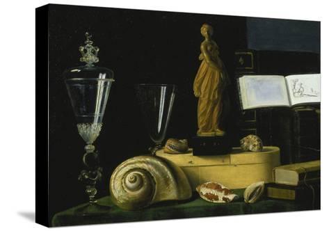 Still-Life with Statue, Books and Shells-Sebastian Stosskopf-Stretched Canvas Print