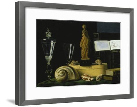 Still-Life with Statue, Books and Shells-Sebastian Stosskopf-Framed Art Print