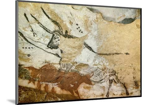 Caves of Lascaux, Fourth Bull, Below: Red Cow with Calf, Great Hall, Right Wall, C. 17,000 BC--Mounted Giclee Print