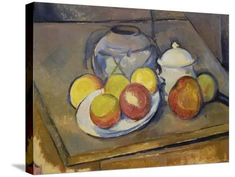 Vase, Apples and Sugar Bowl-Paul C?zanne-Stretched Canvas Print