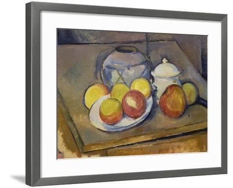 Vase, Apples and Sugar Bowl-Paul C?zanne-Framed Art Print