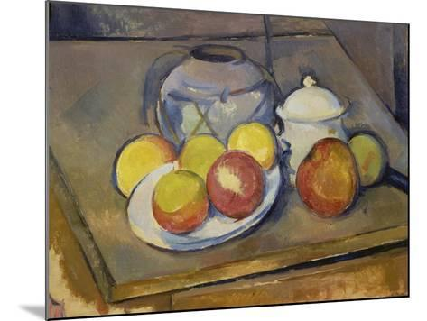 Vase, Apples and Sugar Bowl-Paul C?zanne-Mounted Giclee Print