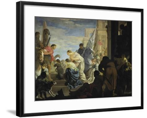 The Meeting of Anthony and Cleopatra, C. 1645-Sebastien Bourdon-Framed Art Print