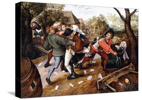 Peasants Brawling, 1619-Pieter Bruegel the Elder-Stretched Canvas Print