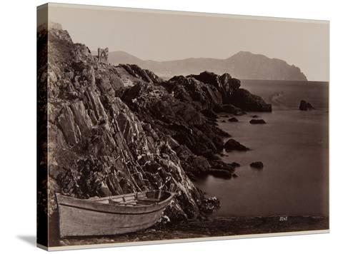 Genova: Fishing Boat on the Beach of Nevi, 1870-80-August Alfred Noack-Stretched Canvas Print