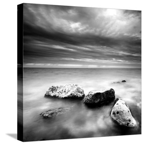 Rocks on Beach--Stretched Canvas Print