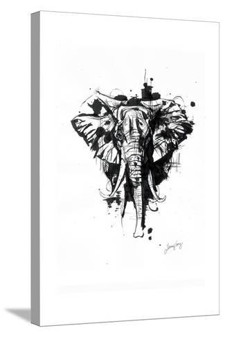 Inked Elephant-James Grey-Stretched Canvas Print