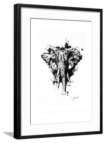 Inked Elephant-James Grey-Framed Art Print