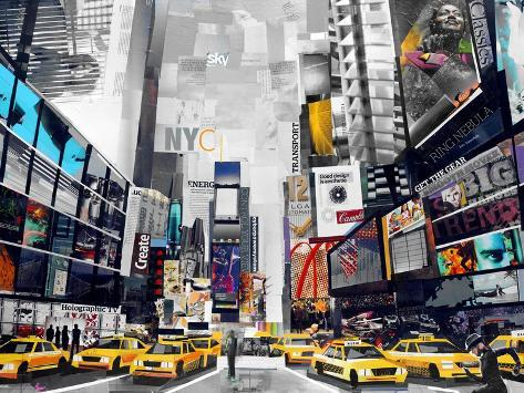Time Square-James Grey-Stretched Canvas Print