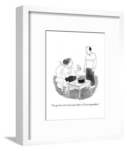 """I've got two more time zones before it's Lent everywhere."" - Cartoon-Emily Flake-Framed Art Print"