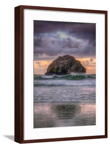 Sunset at Face Rock, Bandon Beach Oregon-Vincent James-Framed Art Print