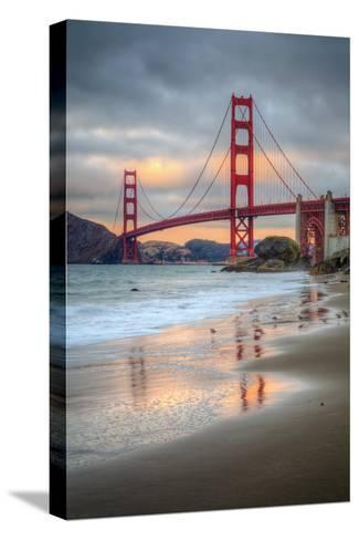 Marshall Beach Sunset and Golden Gate Bridge, California-Vincent James-Stretched Canvas Print