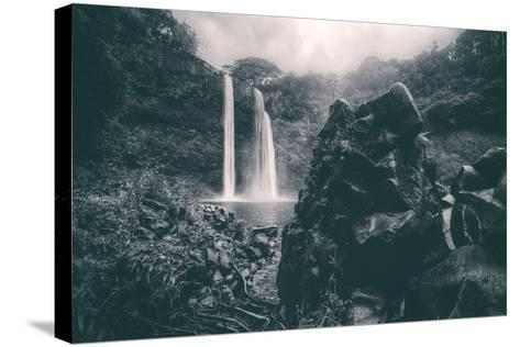Moody Wailua Falls in Black and White, Kauai Hawaii-Vincent James-Stretched Canvas Print