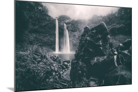 Moody Wailua Falls in Black and White, Kauai Hawaii-Vincent James-Mounted Photographic Print