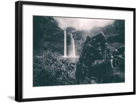 Moody Wailua Falls in Black and White, Kauai Hawaii-Vincent James-Framed Art Print