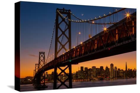 Bay Bridge and Crescent Moon Cityscape, California-Vincent James-Stretched Canvas Print