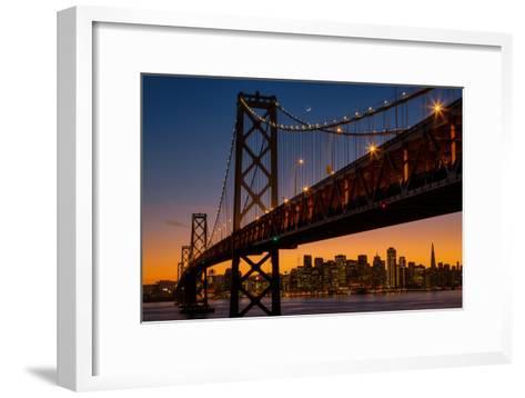 Bay Bridge and Crescent Moon Cityscape, California-Vincent James-Framed Art Print