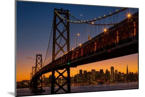 Bay Bridge and Crescent Moon Cityscape, California-Vincent James-Mounted Photographic Print